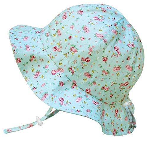 Mädchen-sonnenhut (Vintage Bonnet Sonnenhut fürs Baby (Mädchen) 50 UPF, verstellbar, atmungsaktiv, mit Kinnriemen (Klein: 0-9m, Schlapphut: Retro Rose))