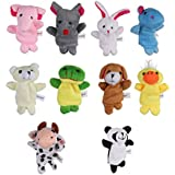 CHICTRY Set Of 10 Novelty Finger Puppets Set Cute Soft Velvet Cartoon Animal Style Dolls Props Educational Toys For Baby Story Time Shows Playtime (Random Type And Random Color)