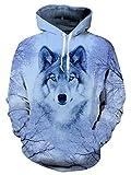 AIDEAONE Unisex Kapuzenpullover Realistischer 3D Wolf Druck Pullover Kapuzenpullover Pullover