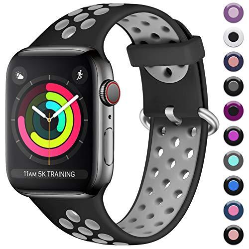 Maledan Kompatibel für Apple Watch Armband 42mm 44mm, Weiches Silikon Sportarmband Ersatz Armband Atmungsaktive für Apple Watch Series 4 Series 3 Series 2 Series 1, Schwarz/Grau, S/M - Silikon-armband-nike