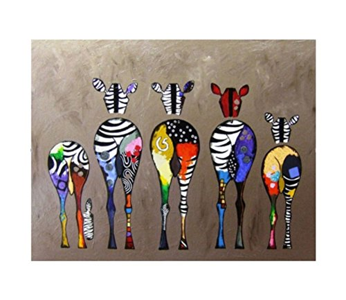 ach Zahlen Kits Geschenk für Erwachsene Kinder, Malen nach Zahlen Home Haus Dekor - Bunte Zebra Familie 40 x 50 cm Rahmen ()