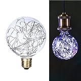 LEDMOMO Fee Glühbirnen, G95 E27 Sternen Glühbirne Filament Kupferdraht Sternen Dekorative Lampe für Weihnachtsfeier Beleuchtung (kaltweiß)