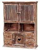 amadeco Küchenschrank Wandschrank Hängeschrank Küchenregal - Holz - Landhaus Shabby Chic Vintage Stil - Vintage - Braun