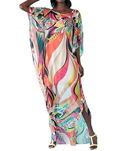 Bestyou Damen drucken türkisch Kaftans Chiffon Kaftan bikinibeachwear-Bikini-Badeanzug-vertuschung-Kleid Geo-Print 1 One Size -