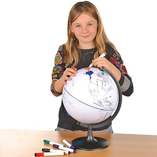 Wiemann Lehrmittel Stummer beschreibbarer Globus inkl. 6 Stifte - Ø 28 cm