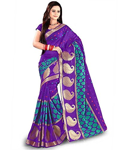 Sarees (Finix Fashion Women's Clothing Banarsi Silk Printed Bandhej Designer Wear Low Price Sale Offer buy online in Georgette Chiffon Banarsi Silk Material New Blue Color Printed Free Size Beautiful Saree Best Offer For Women Party Wear Bollywood Fashion Designer Sarees)  available at amazon for Rs.699