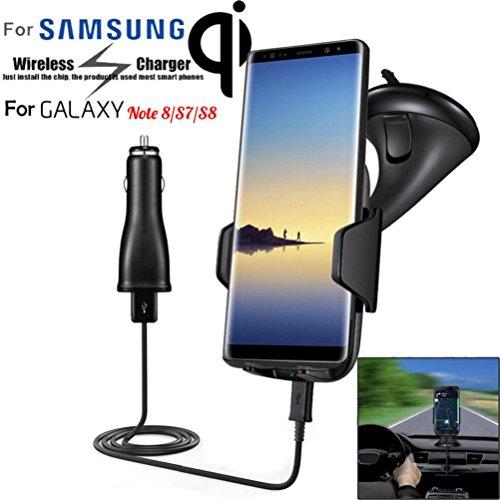 Caricabatterie Wireless Auto, Gusspower Fast Wireless Cruscotto Caricatore Auto 2 in 1 Supporto da Auto Universale per iPhone X 8 Plus, Samsung Galaxy Note 8 S8 S7 Edge e altri Dispositivi Qi-Enab