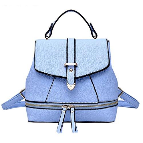 Baymate Donna Scuola Zaini Stile Pelle Morbida Colore Puro Vintage Zaino Cielo Blu 1