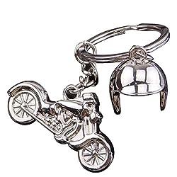 YeahiBaby Motorrad Schlüsselanhänger Metall Schlüsselanhänger Coole Auto Schlüsselanhänger Handtasche Tasche Anhänger Dekoration Kreative Geschenk Keyfob (Silber)