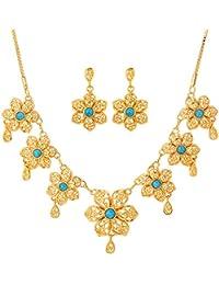 U7 Women's Fashion Fabulous Turquoise Flower Necklace Earrings Set 18K Gold Plated Jewelry