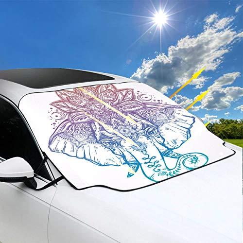 Cubierta de sombrilla plegable Elefante con loto adornado Corona de mandala Sombras de ventanas para automóviles 57.9x46.5 pulgadas Œˆ147cmx118cmïŒ ‰ para la mayoría de los vehículos al proteger el p
