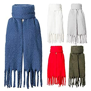 Amphia – Frauen-Winter-warme Art und Weisequasten-Normallackschal,Einfarbiger Schalschal mit rauem Fransen-Kreissand()