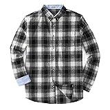 Mocotono Herren Langarm Kariertes Hemd Baumwolle Flanell Hemd mit Super  Qualität Schwarz L eed695b344