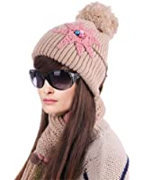 Girl Flower Pattern Knitting Hat & Hollow Out Wool Scarf