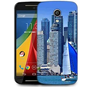 Snoogg White And Blue Boat Designer Protective Phone Back Case Cover For Motorola G 2nd Genration / Moto G 2nd Gen
