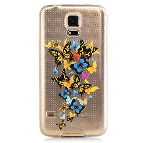 Custodia Per iphone 6 plus/6S plus(5.5) ,KSHOP Silicone TPU Flessibile Silicone Gel Custodia Case Cover posteriore morbida Trasparente + Dipinto - unicorno farfalla