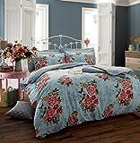 Bettwäsche-Set, luxuriös, Vintage Blumen-Design, sagenhafte Sommerfarben, bügelfrei - Neu - Blau, Doppelbett