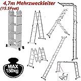 4,7m Aluminium Mehrzweckleiter mit 1 Werkzeugablage für bis zu 150kg, 14-in-1 Kombinationsleiter, Ausziehbare Klappleiter mit 2 Stabilisierungsstangen, EN131-Standard, Sicher und Langlebig