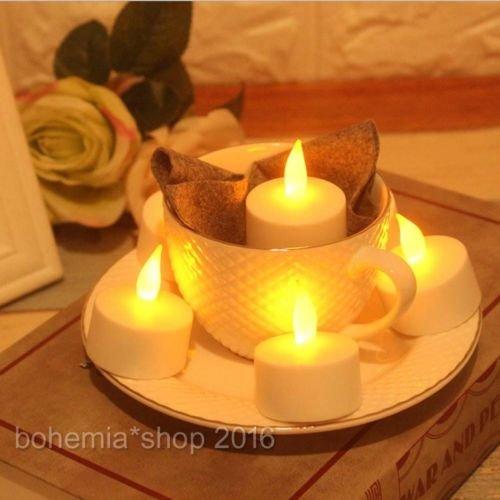 Preisvergleich Produktbild EMOTREE 12x LED Kerze Teelichter Elektrisch Fernbedienung Warmweiß Flackernd Flammenlos Licht