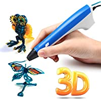 Ailink 3D Printing Pen,Upgrade Intelligent 3D Pen with 1.75mm PLA/PCL Filament,One Button Operation No Burn No Toxic No Clog Gifts for Boys Girls (Blue)