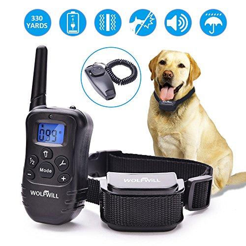 WOLFWILL Hunde Wasserdicht Erziehungshalsband,Wiederaufladbar Trainingshalsband mit Ton,Vibration und Pfeife,Garantie Genießen