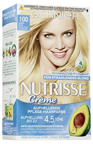 Garnier Nutrisse Creme Coloration Sommer-Blond 100 mit 3 nährenden Ölen, 3er Pack (3 x 1 Stück)