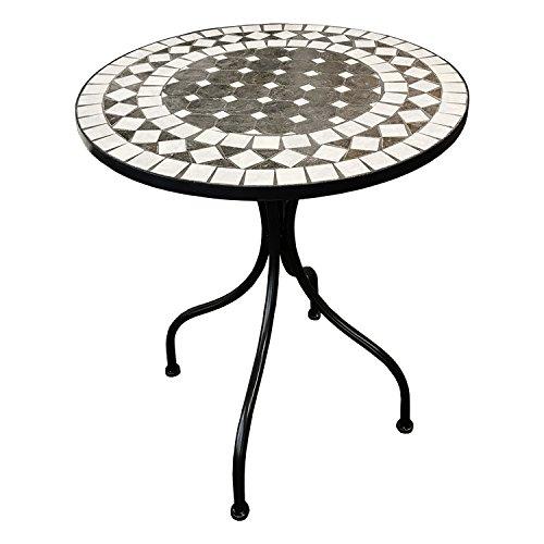 Dekorativer mediteraner Mosaik Tisch Kreis Design Mosaiktisch Gartentisch Gartenmöbel Bistrotisch 60 x 70cm Anthrazit/Grau