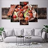 gwgdjk Stampe HD Poster Soggiorno Decorazioni per La Casa 5 Pezzi Pomodoro Vegetale Cibo Pane Pitture su Tela Modulare Immagini Wall Art D-30X40/60/80Cm,Without Frame