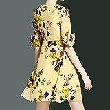Dresses WomenS Fashion Summer Slim Was Thin V Collar Floral Chiffon,M
