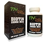 #7: TruOn Nutrition - Pack of 100 BIOTIN tablets 10000mcg - All Natural Hair Growth Formula For Longer, Stronger, Healthier Hair , biotin for beard growth with Skin ans Nails care - Scientifically Formulated with Biotin, Keratin, vitamins & More! - For All hair types Vegiterian best biotin fast dissolve capsules for men and women hair with maximum strength .