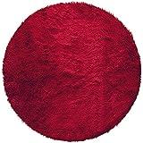 Couleur Montagne, Tappeto rotondo in finta pelliccia, 90 cm, Rosso
