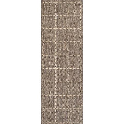Checked Flatweave Anti Slip Rug Runners, Grey - 60 x 110cms (2ft x 3ft 8