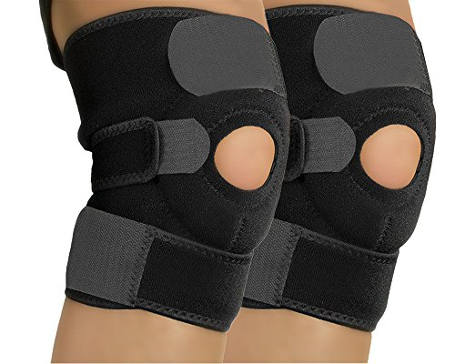 Blancho Set of 2 Sports Adjustable Silicon Knee Pads Knee Protector patella retinaculum