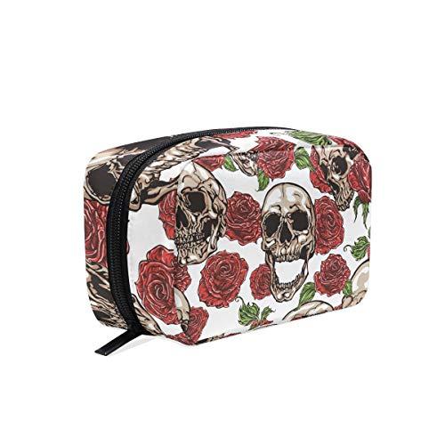 Schminktäschchen-Schädel mit Blumen-Rosen-Kosmetik-Beutel-Kupplung - Zurück Zip Kupplung