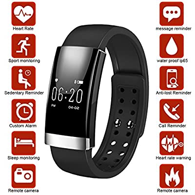 Dreamerd Fitness Tracker,Bluetooth 4.0 Fitness Wristband/Smart Bracelet/ Heart Rate Monitor/Sleep Monitor/Calorie Counter/Pedometer Sport Activity Tracker for iPhone iOS and Android Phone by Dreamerd