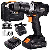 TACKLIFE Perceuse Visseuse Sans Fil 18V à 2 Vitesses avec Marteau et 2 Batteries Lithium-ion (2,0 Ah),Mandrin Métal 13mm Max Couple 35N. m, Charge Rapide 1h,...
