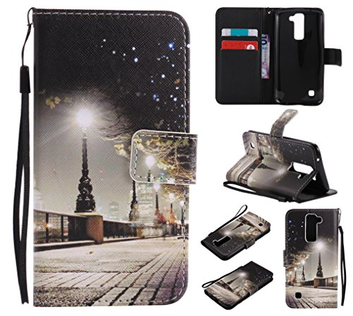 Qiaogle Téléphone Coque - PU Cuir rabat Wallet Housse Case pour Apple iPhone 7 Plus (5.5 Pouce) - KT16 / Ville Paysage KT16 / Ville Paysage