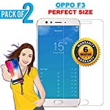 iONiQ Toughened Tempered Glass Screen Protector Guard for Oppo F3 - Pack of 2