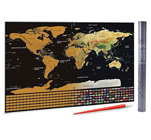 Rubbel-Weltkarte mit US-Bundesstaaten und Flaggen der Länger, XXL-Größe, 82,5 x 59,4 cm, mit Rubbelstift, sodass Sie Ihre Reisen und unvergesslichen Erinnerungen festhalten können