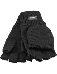 Halbfinger Handschuh mit Klappe dickes Thinsulate Futter