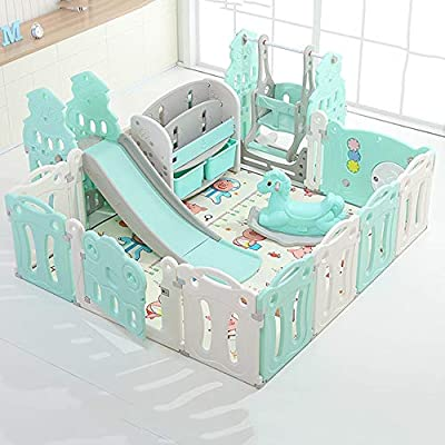 Hong Jie Yuan Child Guardrail Baby Playpen Playard Toddlers Play Yard with Door Activity Center Child Play Game Fence Baby Playground (Color : Blue)