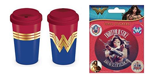 Set: Wonder Woman, Wonder Woman Emblem Coffee to Go Tasse (15x10 cm) Inklusive 1 Wonder Woman Poster-Sticker Tattoo Aufkleber (12x10 cm)