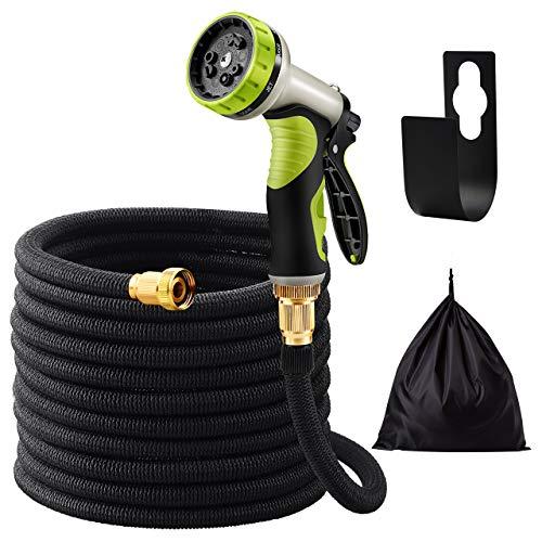 OMORC Flexibler Gartenschlauch, Gartenschlauch 30M, FlexiSchlauch mit 3-Lagen-Latex, 3750x3750D Polyester, hochwertigem Messing, 9 Funktion geeignet für Bewässerungsanlagen, Reinigung, Autowäsche
