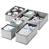 mDesign Juego de 5 cajas de almacenaje con dibujo de espiga para habitación infantil - Cestas de tela para bebé con múltiples compartimentos - Organizadores de cajones y armarios en tela - gris