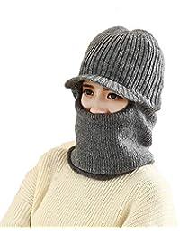 Inverno Donna Uomo Maglia Berretti Cappello in pile Thermal Crochet Cappelli  Scaldacollo Double-Deck Skull 9970de764c0d