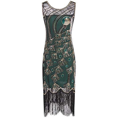 Great Gatsby Kleid Damen Retro 1920er Pfau Muster Pailletten Quasten Perlen Art Deco Scalloped Saum Inspiriert Flapper Kleid Party Damen Kleid,Green,M (1920 Kostüm Muster)