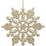 """brlmall Pack de 24plástico con purpurina adornos de copo de nieve Navidad 4"""", plástico, champán, 4"""""""