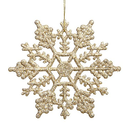 BRLMALL Packung mit 24 Plastikflitter Schneeflocke Weihnachtsverzierungen 4