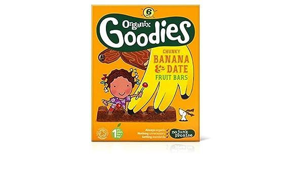 102 g Organix goodies Banana /& Date Chunky Fruits Barres 6x17g