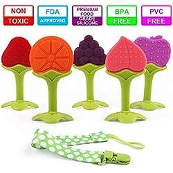 Juguetes para la dentición Masticadores Sensoriales Silicona Fruta mordedor Binky para bebés recién nacidos Libre de BPA Congelador orgánico natural